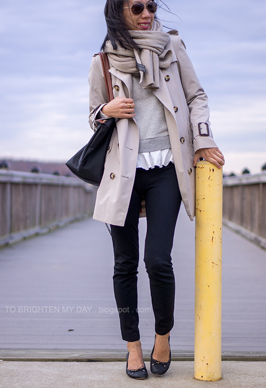 chunky knit scarf, trench coat, ruffled sweatshirt