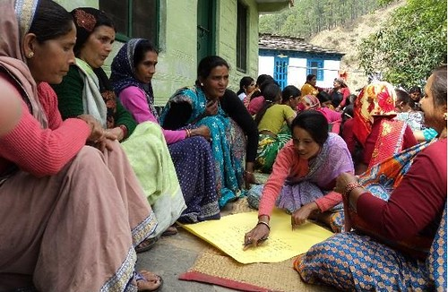 Women farmers discussing their problems in an IP meeting in Kolseer village, Uttarakhand