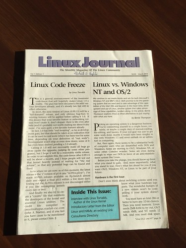 My personal copy of the first ever edition of Linux Journal (March 1994)