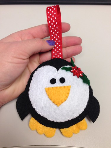 Hand-stitched felt penguin ornaments!