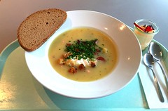 Westphalian potato soup with herbs, mettwurst slic…