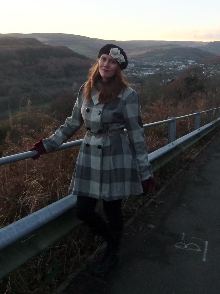 Grey check coat and beret