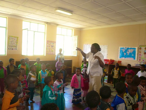 Justina Ihechere SSL teaches the children at the local kindergarten