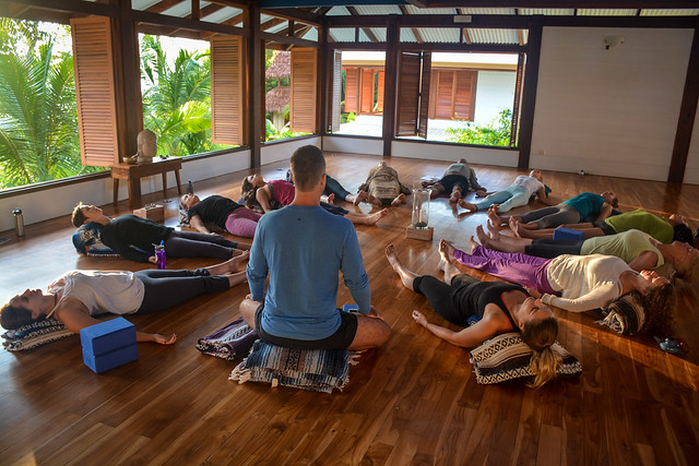 Meditation during 14-day yoga teacher training immersion