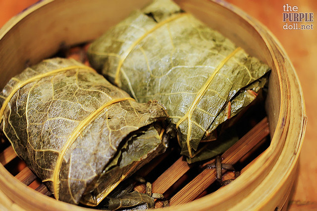 Steamed Glutinous Rice with Chicken, Barbecue Pork in Lotus Leaf (P129)