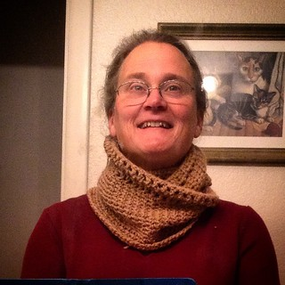 #HOHOHO Here is the holiday gift for my son's wonderful teacher. It is a fleece from Pilgrim the alpaca, late herd-mate of my trio, handspun and crocheted by me into a Calm Cowl. #granolagirl #camelidranchingismysuperpower