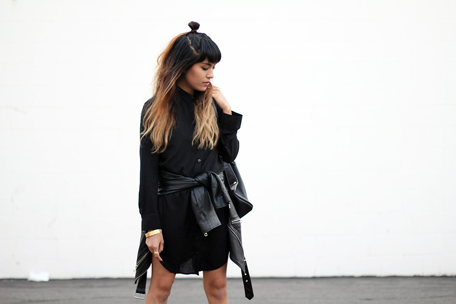 Silence & Noise shirtdress Urban Outfitters, All Saints Balfern leather moto jacket, Missguided Docs boots, Movado bold watch, vintage leather Coach backpack