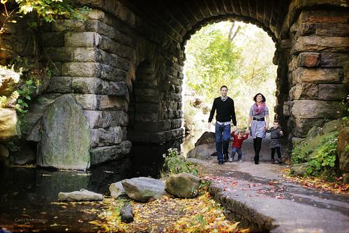Walking under the bridge
