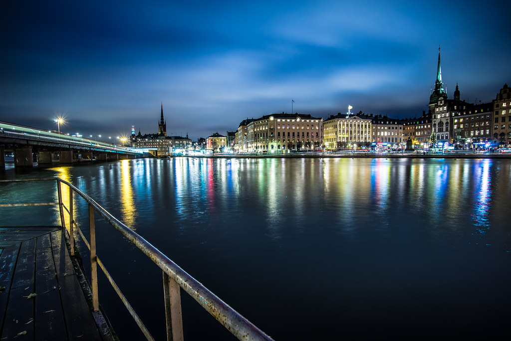 Stockholm skyline at night picture