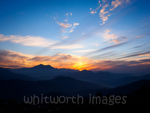 blue nepal sunset sky orange sun mountains nature beauty yellow clouds landscape golden evening asia view hills himalaya himalayas gorkha indiansubcontinent tanahun