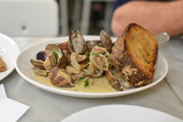 steamed clams, cream, fennel, pastis, potato, grilled bread