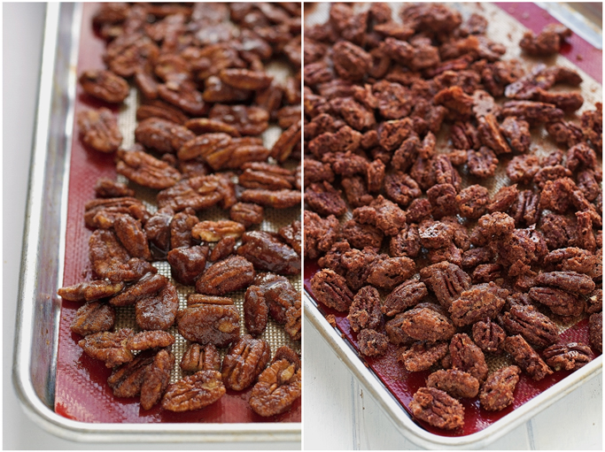 Candied Pecans - they take less than an hour to make, make the whole house smell delicious and are perfect to give as gifts! #giftideas #pecans #candiedpecans | Littlespicejar.com