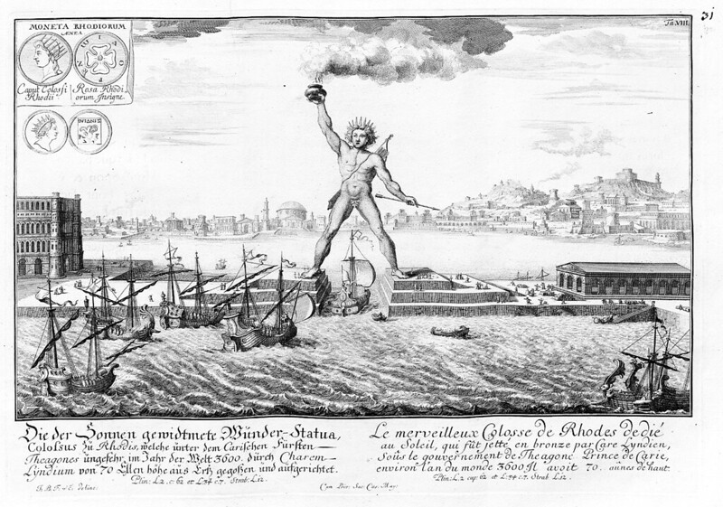 """The colossos of Rhodos from """"Entwurff einer historischen Architectur"""""""