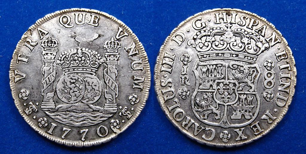 8 reales de Carlos III 1770. Tipo columnario. Ceca de Potosí 16035166282_c630ddb562_b