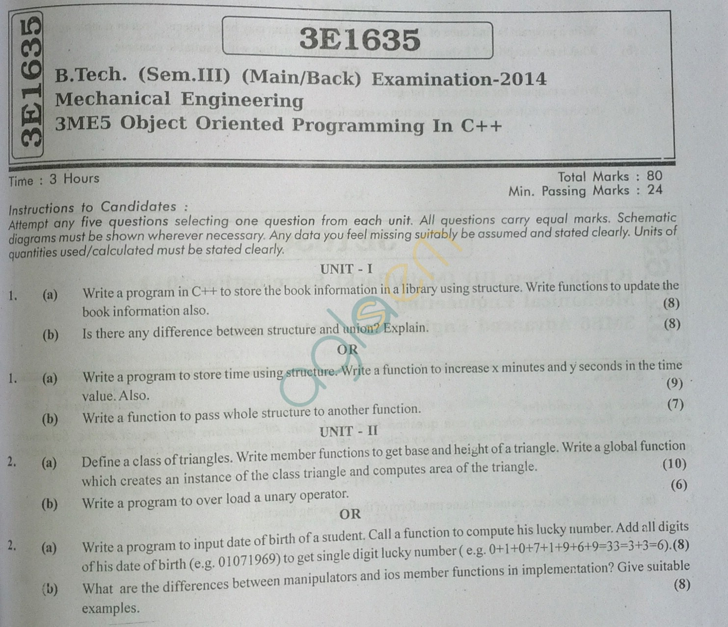 RTU: Question Papers 2014 - 3 Semester - ME - 3E1635