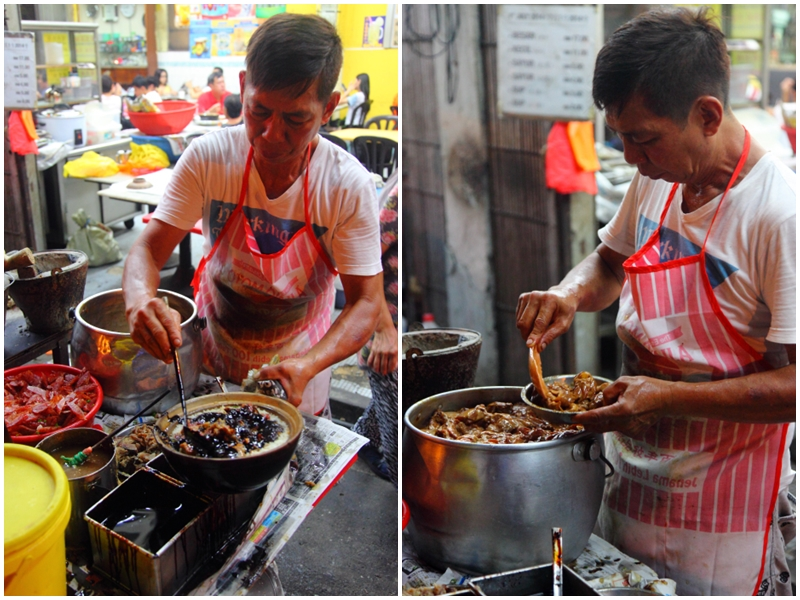 Preparing Claypot Chicken Rice