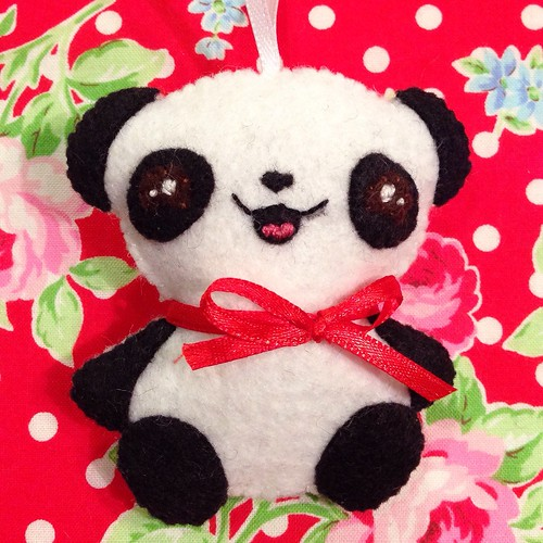 Kawaii felt panda ornament