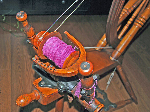 Spinning Columbia wool roving on Cadorette Canadian Production spinning wheel