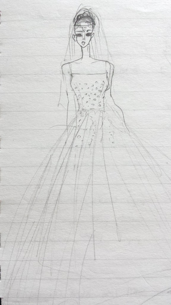 wedding dress sketch 1
