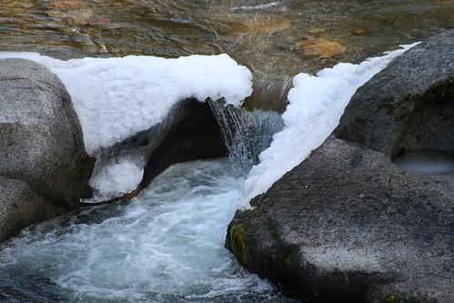 nationalpark yosemite california creek rocks water snow winter sierra hiking wawona ice