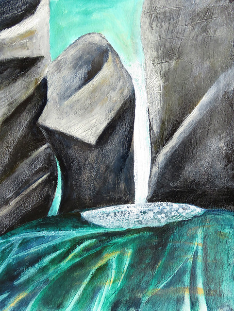 Mixed Media Painting of Little Qualicum Falls on Vancouver Island