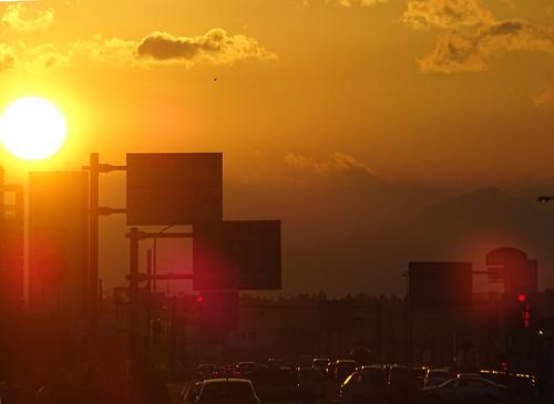 sunset mountain silhouette japan 日本 mito 山 ibaraki 看板 水戸 シルエット 日没 uchihara 茨城県 内原