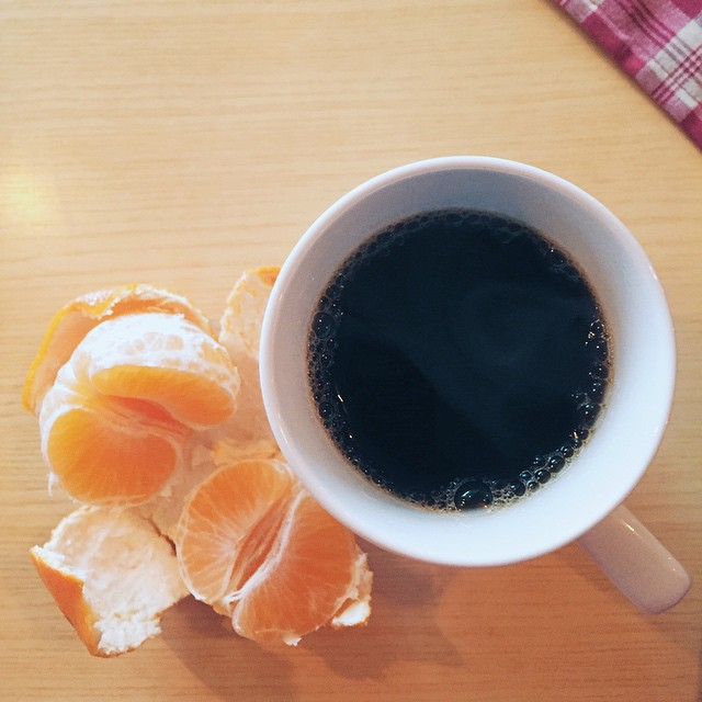 Morning coffee and some orange