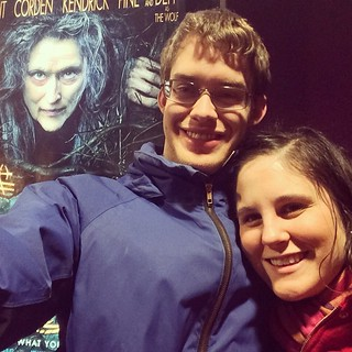 Creepy Meryl Streep photobomb, ha ha. Seeing movies in theaters is a rarity for us and Into the Woods was the best we've seen in a long while!