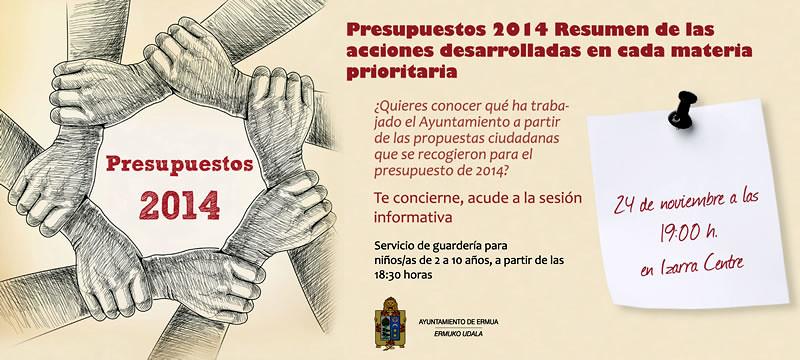 Cartel anunciador de la sesi�n informativa de Presupuestos 2014