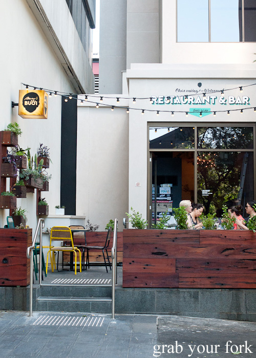Rear courtyard seating at Mama's Buoi, Surry Hills
