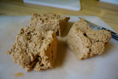 Raw seitan, divided into cooking pieces