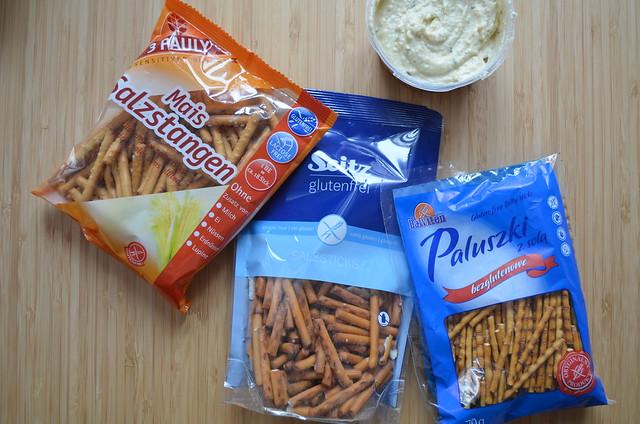 Germany gluten-free pretzel taste test_ 3 Pauly Seitz and Balviten brands with hummus