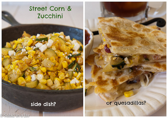 Street Corn and Zucchini--Side Dish or Quesadillas?