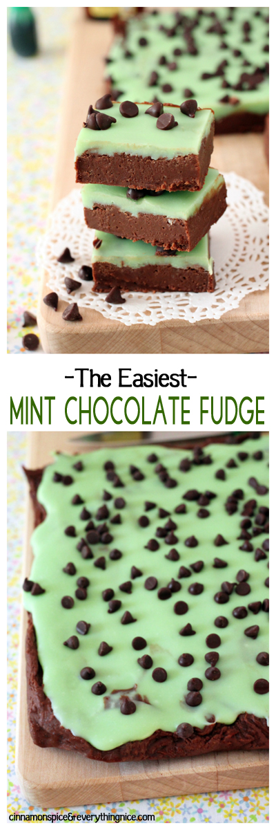 Sweet and creamy chocolate fudge topped with mint-infused white chocolate icing. I promise this is the easiest, quickest fudge you will ever make!