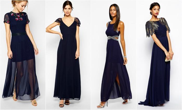 vestidos de boda azules largos