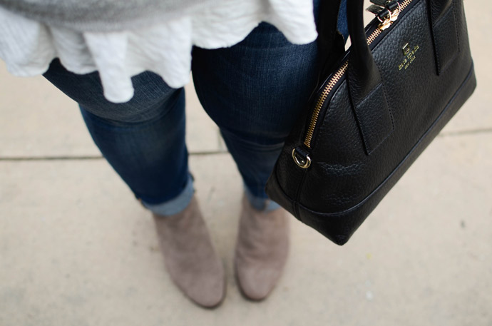 anthropologie, sweater, booties, dsw, kate spade, ootd, outfit, purse, red lip