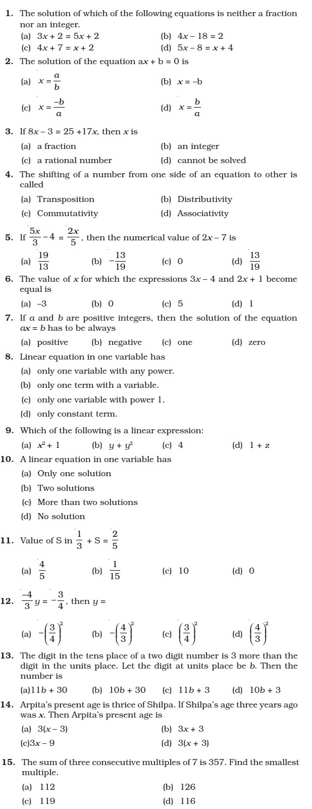 Workbooks solving linear equations with two variables worksheets : Class 8 Important Questions for Maths – Linear Equations in One ...