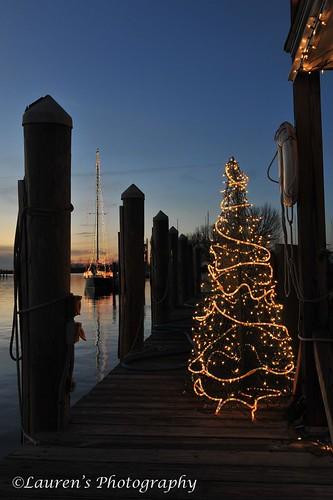 christmas sunset tree sailboat lights harbor boat md nikon colorful waterfront dusk maryland christmastree easternshore goldenhour tilghman chesapeakebay tilghmanisland talbotcounty d700 laurensphotography lauren3838photography