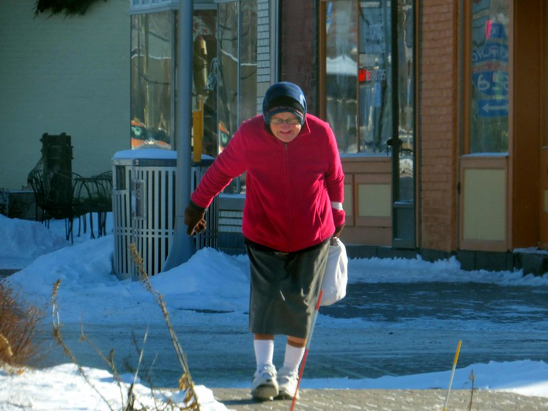 It was below zero but she was out doing her shopping.