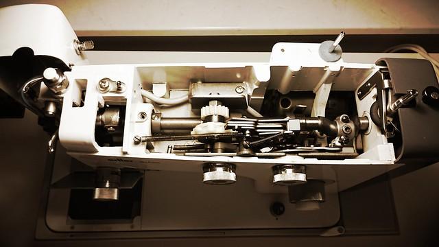 Blick von oben in die Maschine.