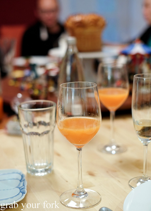 Kefir fermented carrot, pear and bergamot bitters juice pairing at the Stomachs Eleven Christmas dinner 2014