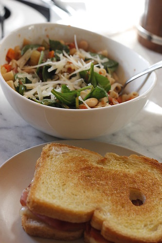 Italian soup and grilled cheese