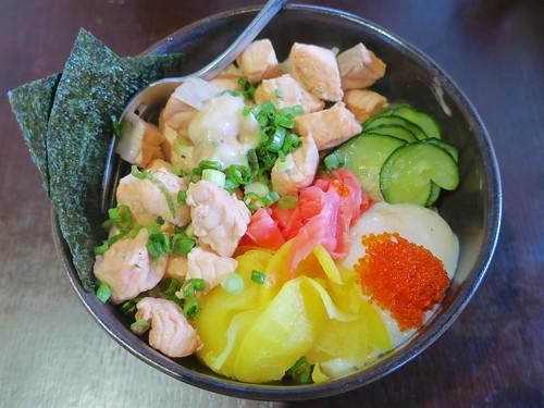 tasty salmon rice bowl