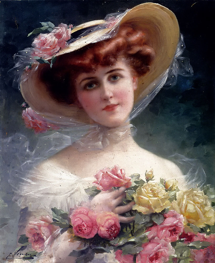 Beauty with Flowers Emile Vernon, c. 1910