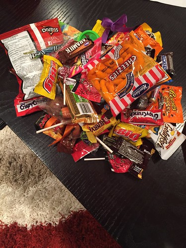 Scott's collection after a few hours of Trick or Treat