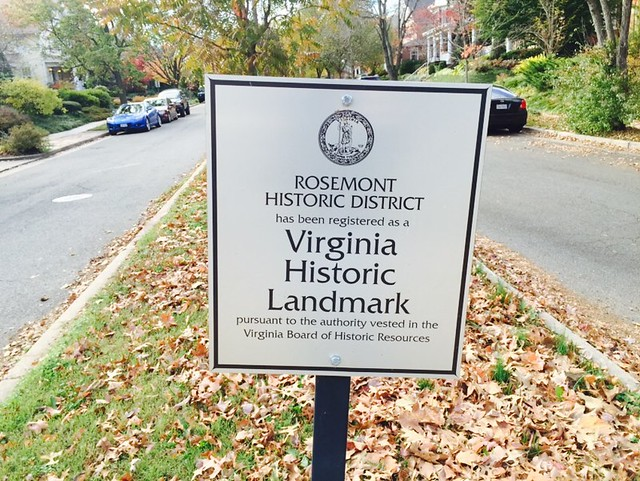 Historic Landmark Sign in Rosemont Neighborhood of Alexandria, VA