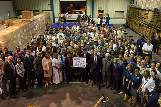UNMEER staff in Accra, Ghana, meet the Secretary-General and his delegation