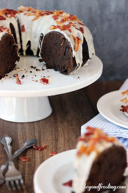 Sweet meets salty in this Bourbon Maple Bacon Chocolate Cake.