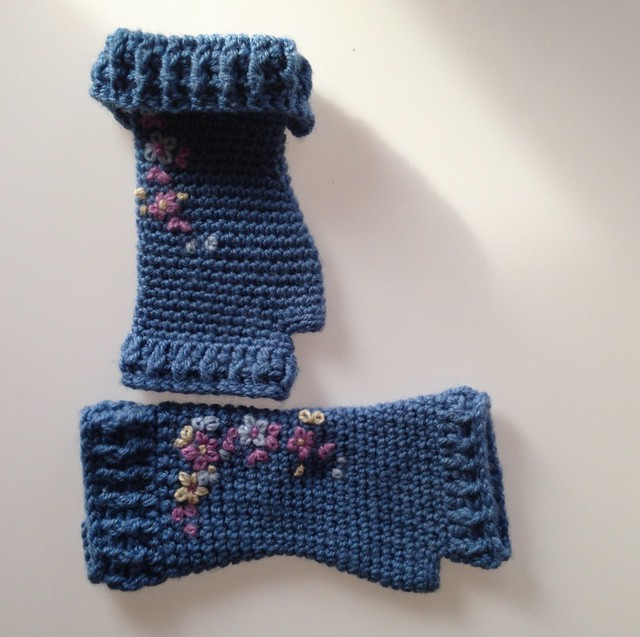 blue embroidered mittens