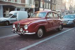 automobile, vehicle, mid-size car, compact car, antique car, sedan, classic car, vintage car, saab 96, land vehicle,